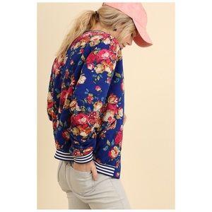 Bomber Jacket Royal Blue Floral with Pockets Sm M
